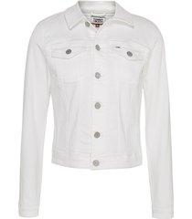 slim trucker jacket white
