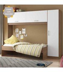 cama solteiro com colchão incluso e guarda roupa multimóveis avelã/branco