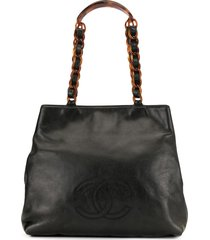 chanel pre-owned 1998 tortoiseshell details tote - black