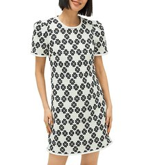 daisy-print tweed shift dress