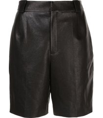 saint laurent pleated detail bermuda shorts - black