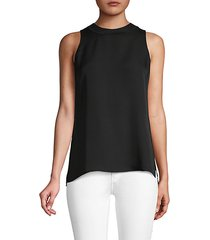 ribbed-trim silk-blend tank top