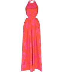 staud apfel hibiscus-print maxi dress - red