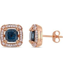 blue topaz (2-1/5 ct. t.w.), white sapphire (1/8 ct. t.w.) and diamond (1/5 ct.t.w.) halo stud earrings in 10k rose gold