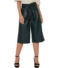 women's vero moda lilja high waist coated city shorts, size x-large - green