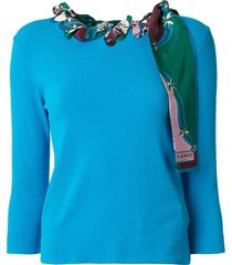 emilio pucci long-sleeved woven scarf top - blue