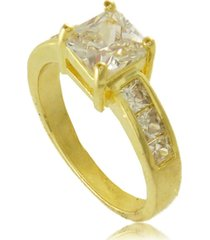 anel com ponto de luz quadrado 3rs semijoias dourado