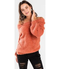 bethanie off the shoulder sweater - blush