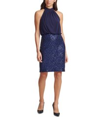 vince camuto embellished blouson bodycon dress