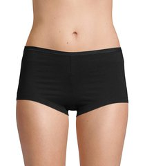 ava & aiden women's stretch cotton boyshorts - black - size l