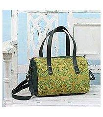leather accent cotton handle handbag, 'avocado jungle' (india)