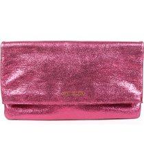saint laurent pink metallic leather fold-over clutch bag pink/metallic sz: m