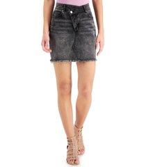 tinseltown juniors' asymmetrical denim mini skirt