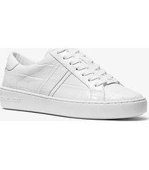 mk sneaker irving in pelle stampa coccodrillo - bianco ottico (bianco) - michael kors