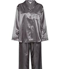 satin long sleeve pyjamas pyjamas grå lady avenue