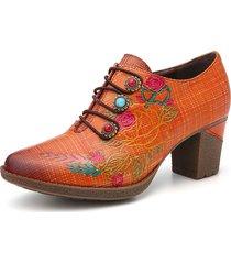 socofy stringhe elastiche floreali con perline scozzesi in pelle scarpe eleganti con tacco a blocchi