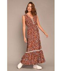 vestido largo escote v estampado mini floral