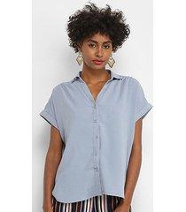 blusa facinelli manga curta botões feminina