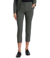 theory women's treeca plaid wool-blend pants - grey - size 10