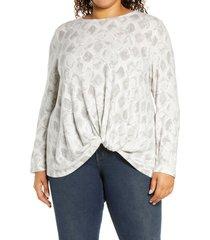 plus size women's bobeau scoop neck front twist top, size 2x - grey