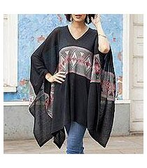 cotton blend poncho, 'mysterious andes' (peru)