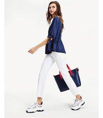 blusa fruncida con lazos en mangas azul tommy jeans