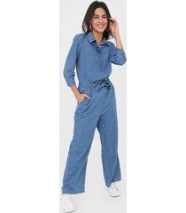 macacão jeans hering reta amarração azul - kanui