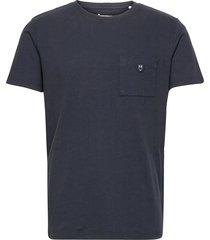 alder garment dyed pique tee w/pock polos short-sleeved blå knowledge cotton apparel