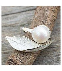cultured pearl wrap ring, 'blossom in the snow' (thailand)