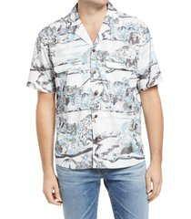 men's outerknown backyard palms print short sleeve button-up camp shirt, size xx-large - white