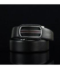 cinturón de hombres, correa de cuero pura de la-negro