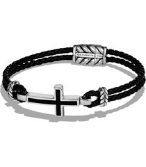 men's david yurman 'exotic stone' cross station leather bracelet with black onyx