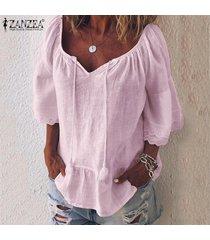 zanzea blusa de playa de retazos de encaje para mujer camisas de algodón holgadas ocasionales tops camisas -rosado