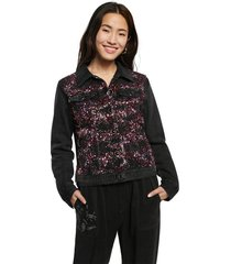 chaqueta negro-vinotinto-rosa-blanco desigual