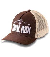 boné trucker running bordado snapback marrom e bege - trail run marrom