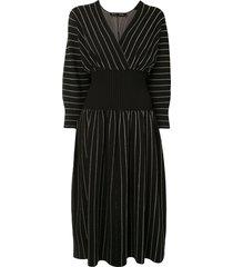 chalk stripe knit dress