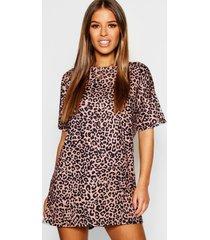 petite luipaardprint t-shirt jurk, bruin