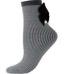 houndstooth velvet-trim ankle-length socks
