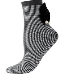 houndstooth velvet-trim ankle-length socks