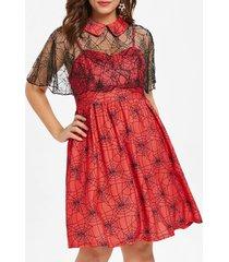 plus size spaghetti strap dress with cape