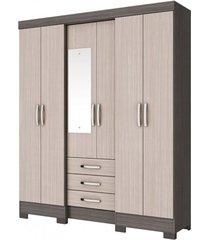 guarda roupa briz b23-74 6 portas 3 gavetas gris/palha
