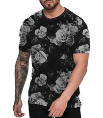 camiseta di nuevo black floral masculina