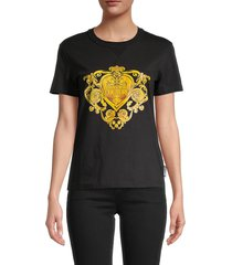 versace women's baroque logo graphic t-shirt - black gold - size xs