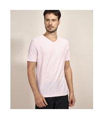 camiseta masculina básica flamê manga curta gola v rosa claro