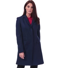 french connection womens platform felt smart coat size 12 in blue