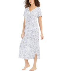 charter club cotton floral-print long nightgown, created for macy's