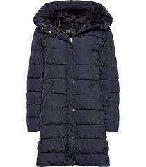 coats woven gevoerde lange jas blauw esprit collection