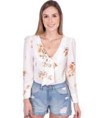 blusa de flores manga larga con anudado en escote flashy