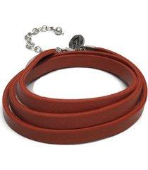 pulsera de mujer naranja stringa 4 giri moneta  leather collection vestopazzo
