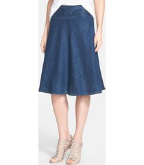 petite women's nic+zoe 'summer fling' flirt skirt, size 10p - blue